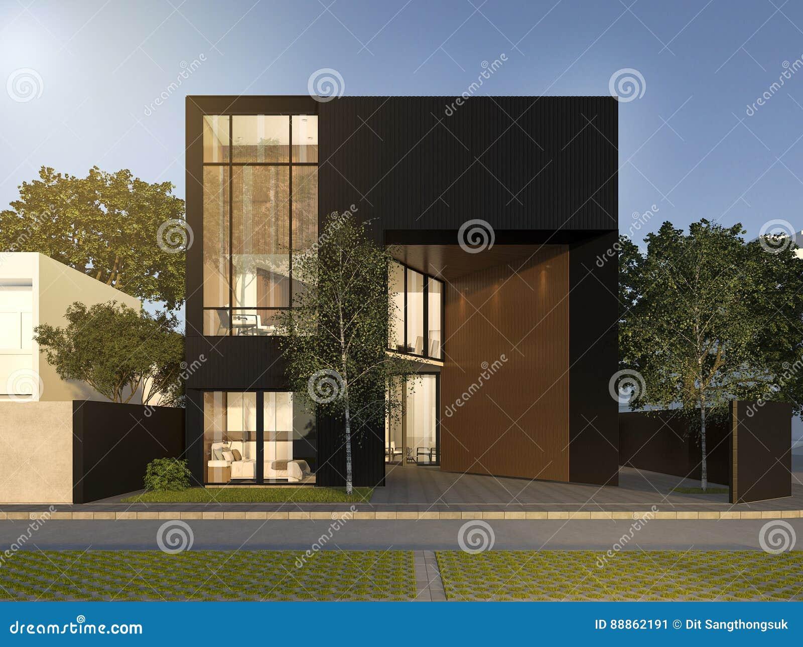 3d Rendering Black Minimal Wood And Black House Stock Illustration
