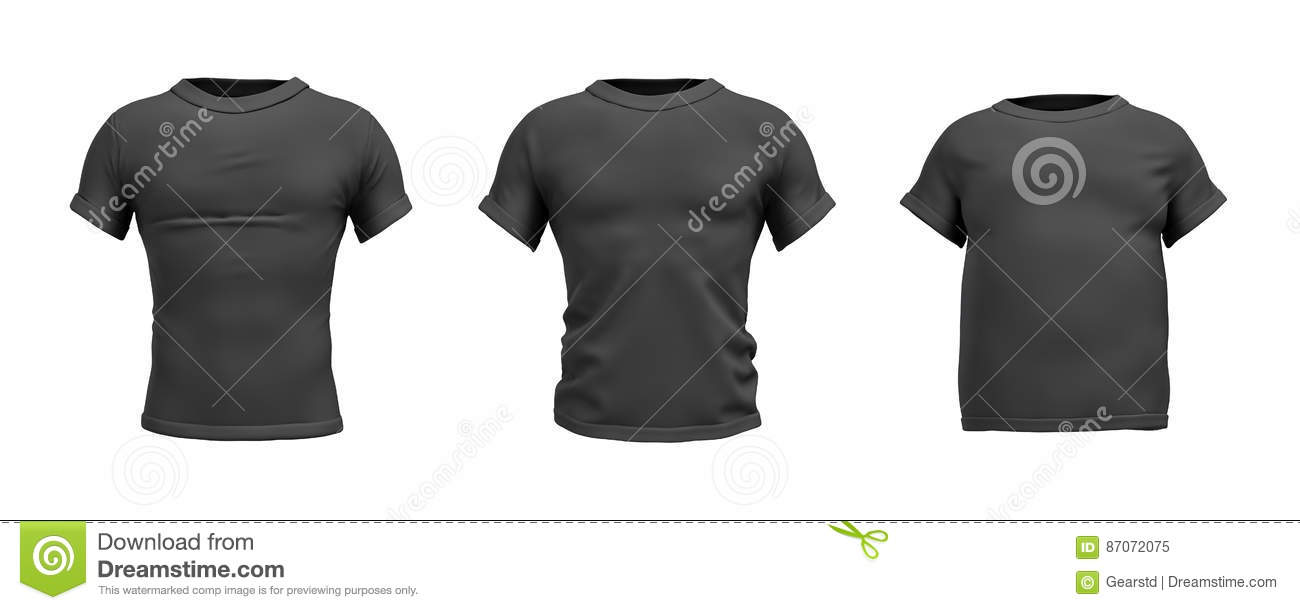 Black t shirt front view - 3d Rendering Of A Black T Shirt In Realistic Slim Muscular And Fat Shape
