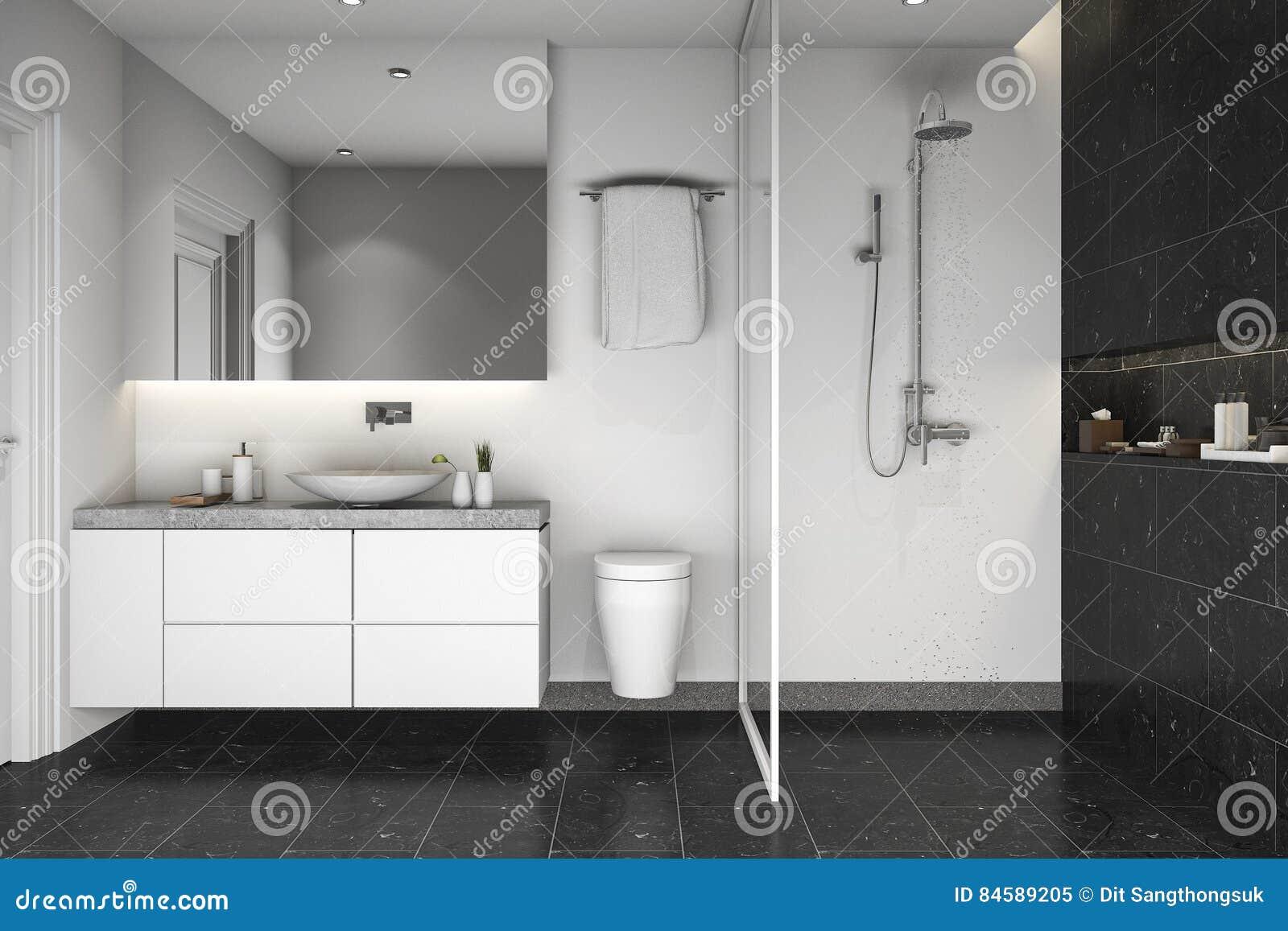 3d Rendering Black Tile Shower And Bathroom Stock Illustration ...
