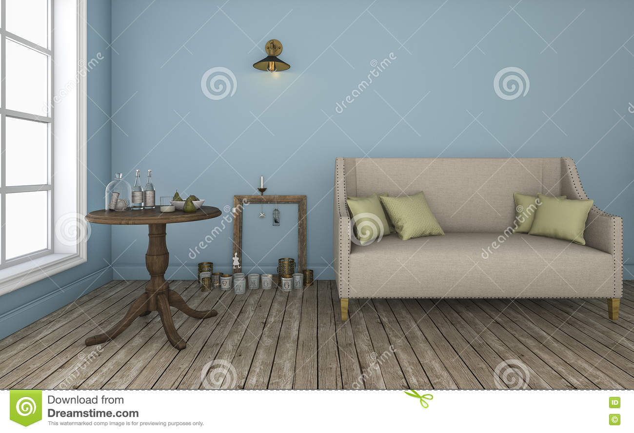 Enjoyable 3D Rendering Blue Wall Living Room With Good Characteristic Download Free Architecture Designs Scobabritishbridgeorg