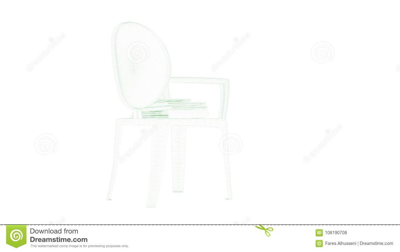 3d rendering of a blueprint chair isolated on white stock