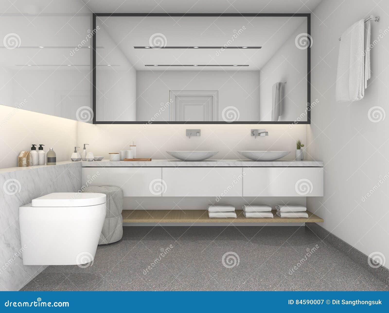 Download 3d Rendering Brick Minimal Toilet And Bathroom Stock Illustration