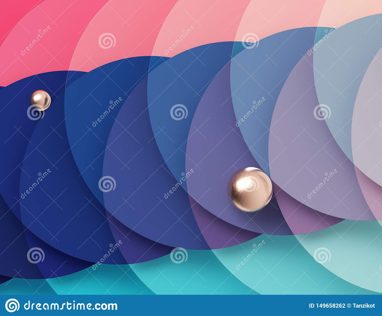 Bright multicolored geometric background formed by the intersection of pink and turquoise circles