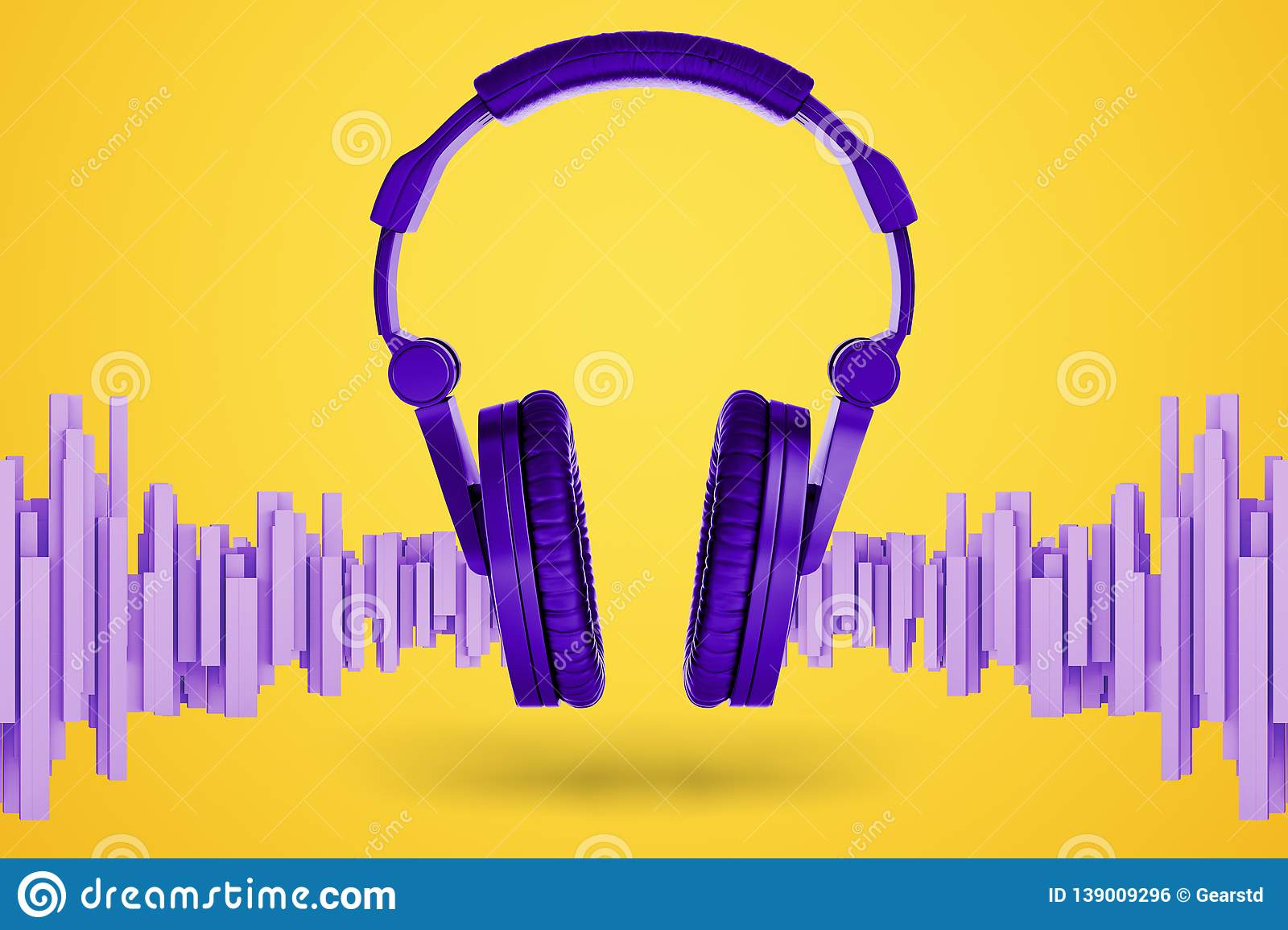3d rendering of bright violet music headphones with soundwave-shaped blocks standing near them on a yellow background.