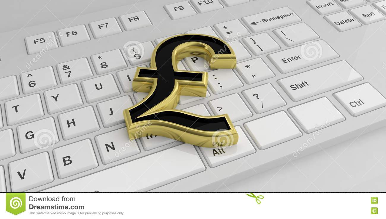 3d Rendering British Pound Symbol On A Keyboard Stock Illustration