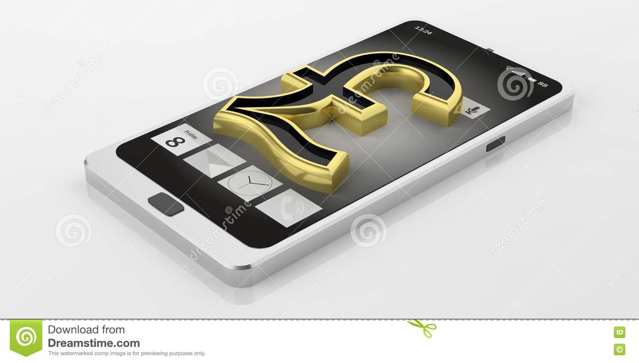 3d Rendering British Pound Symbol On A Smart Phone Stock