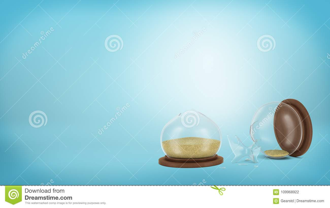 3d rendering of a broken retro hourglass lying on a blue background in halves with sand still inside.