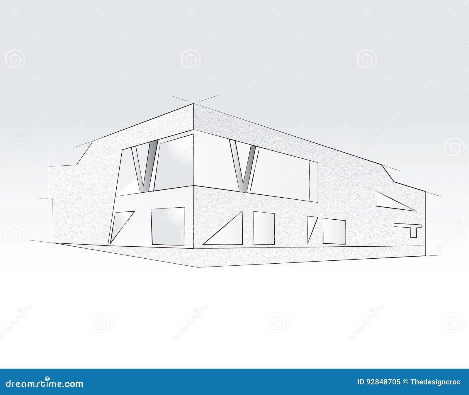 3D rendering budynek biurowy, biały tło Pojęcie - nowożytna architektura, projektuje