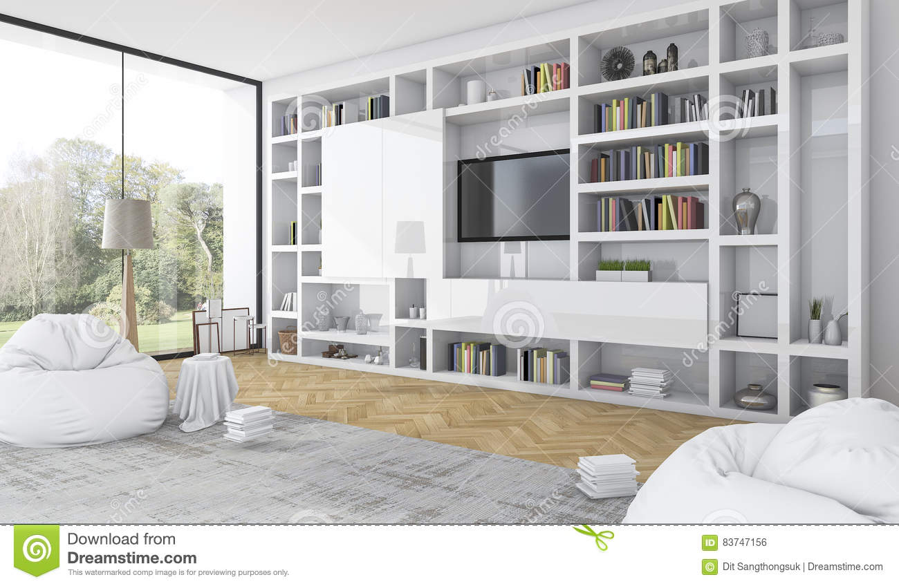 Royalty Free Illustration. Download 3d Rendering Built In White Shelf With Bean  Bag In Modern White Living Room Stock Part 87