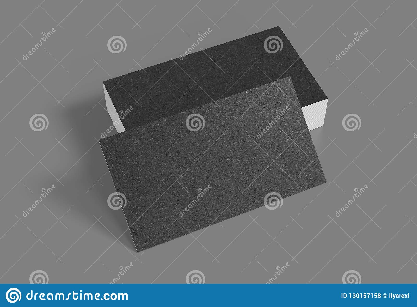 3D Rendering Of Business Card  Blank Template Black Business