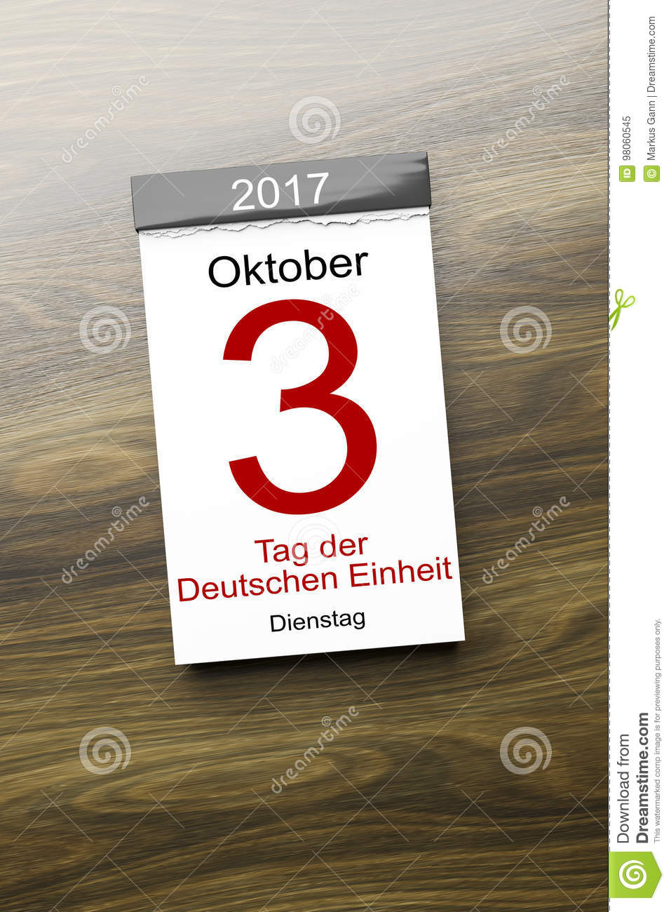 A Calendar The 3rd Of October Day Of German Unity Text In German