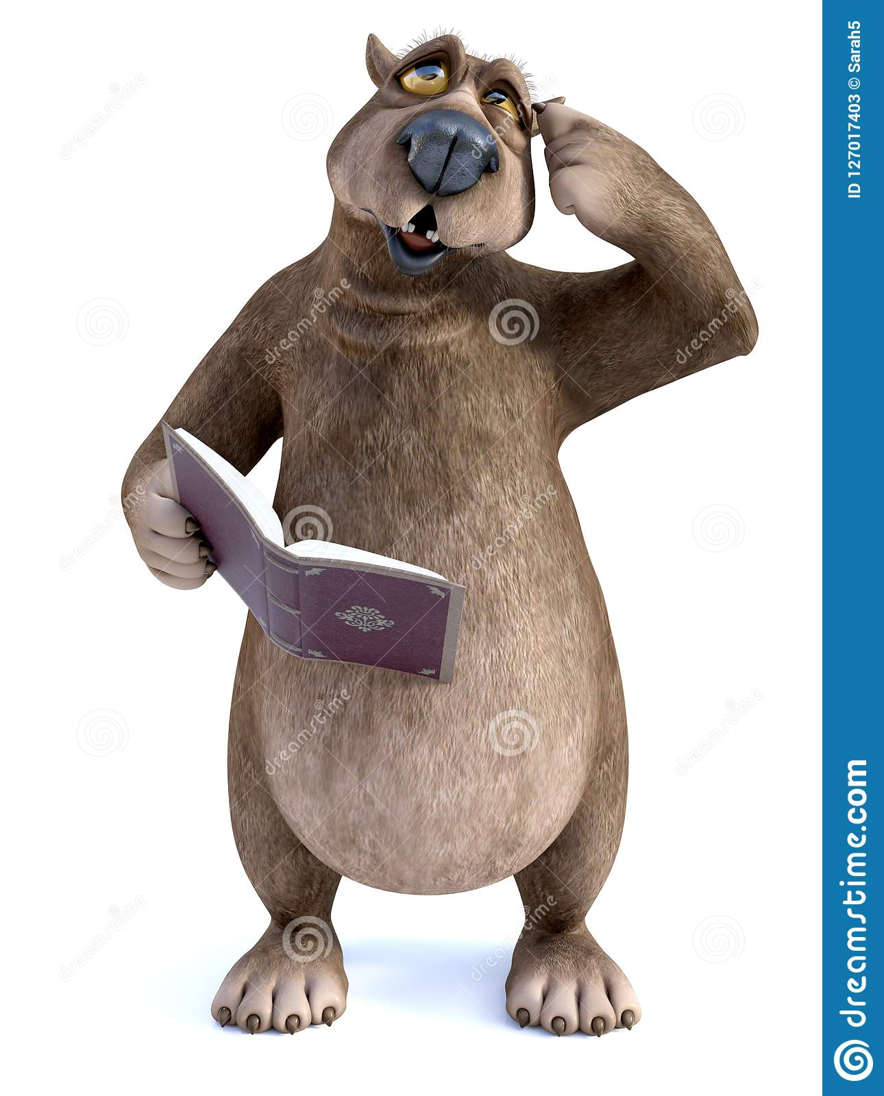 3d rendering of cartoon bear reading book and thinking about som