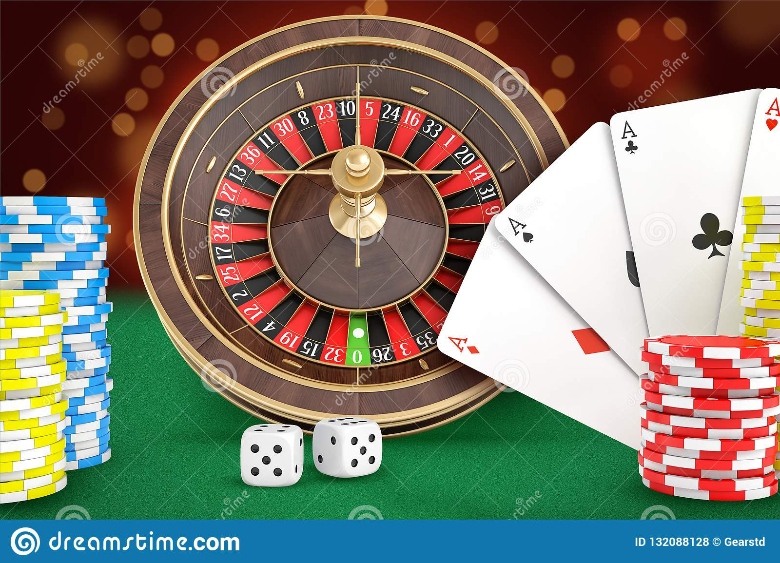 3d Rendering Of Casino Roulette Stands On A Green Felt Table With Cards Dice Chips Stacks Nearby Stock Illustration Illustration Of Fortune Play 132088128