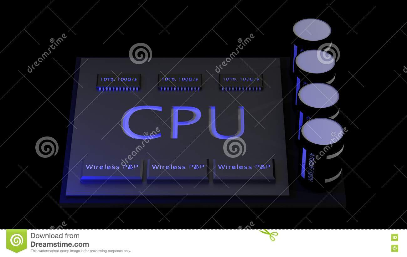 3d rendering central Computer Processors CPU concept. technology
