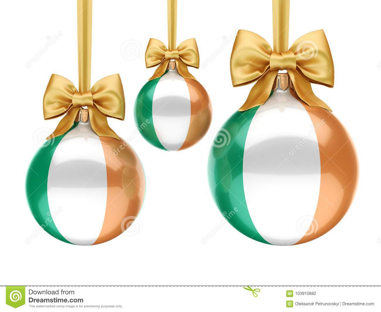 3D Rendering Christmas Ball With The Flag Of Ireland Stock ...