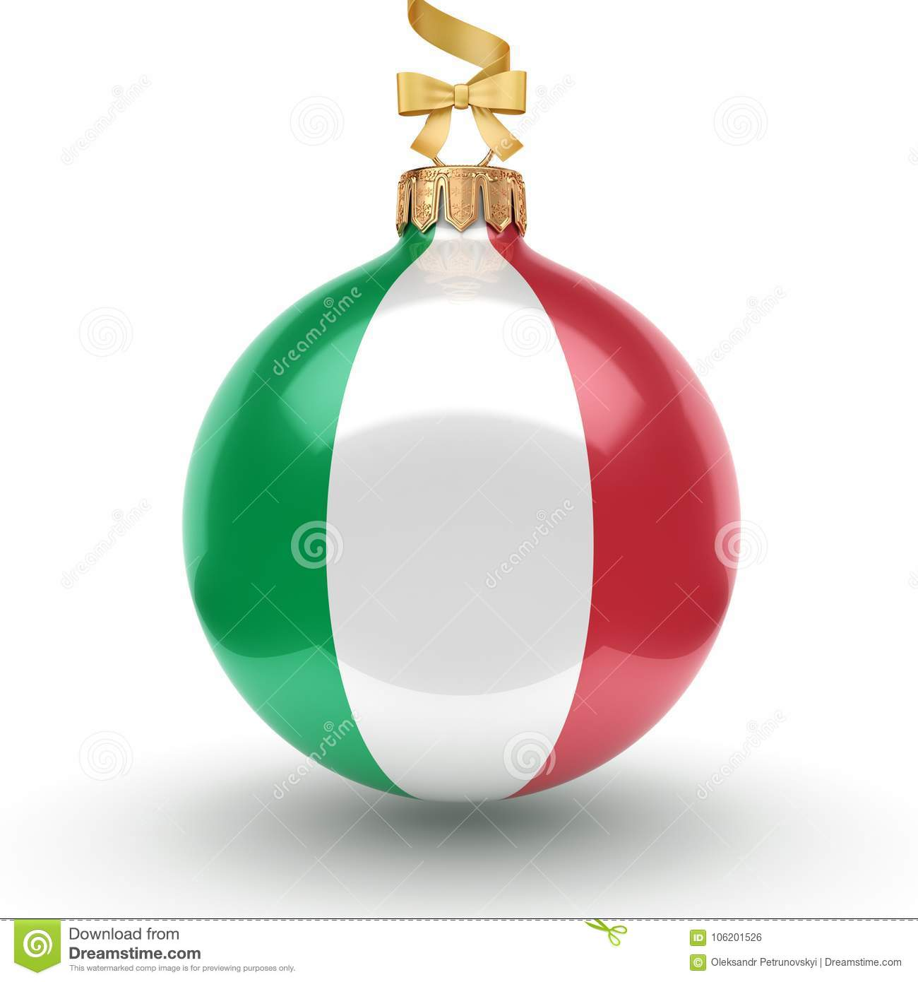 3D Rendering Christmas Ball With The Flag Of Italy Stock ...