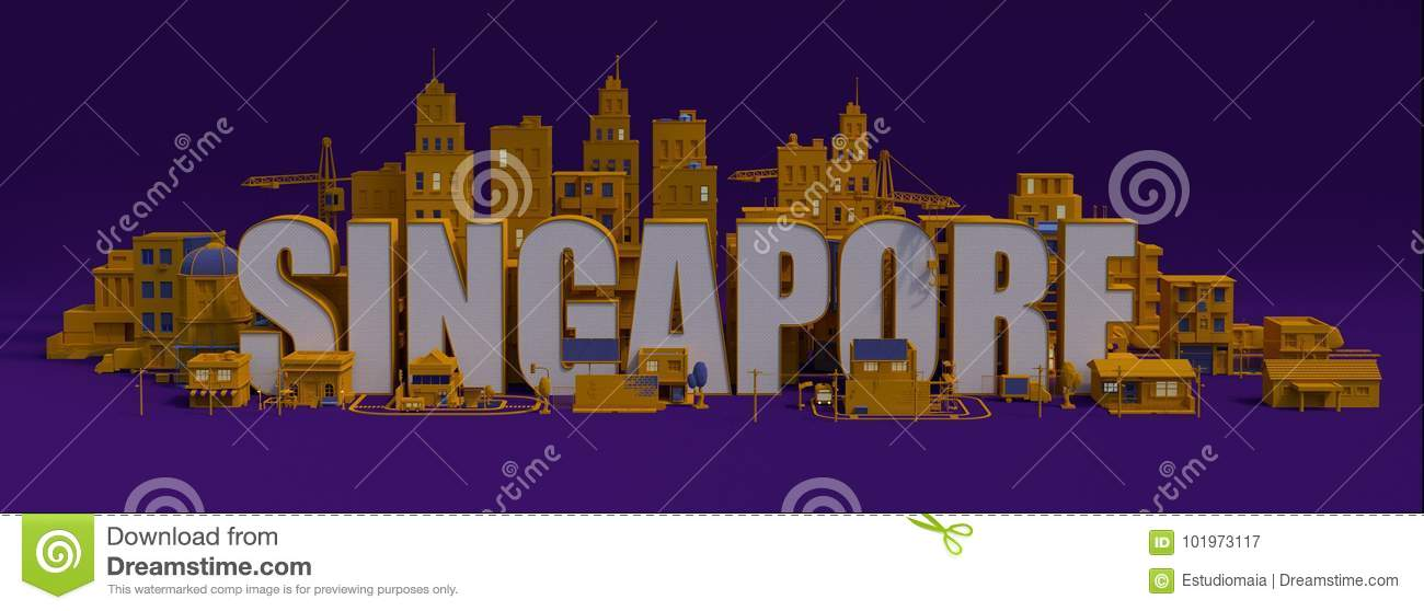 3d Rendering City With Buildings, Singapore Lettering Name