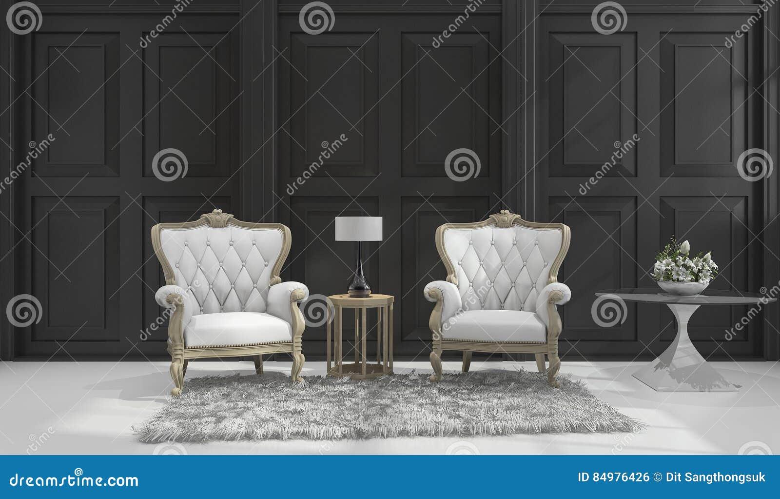 3d Rendering Classic Armchair In Black Classic Room Stock