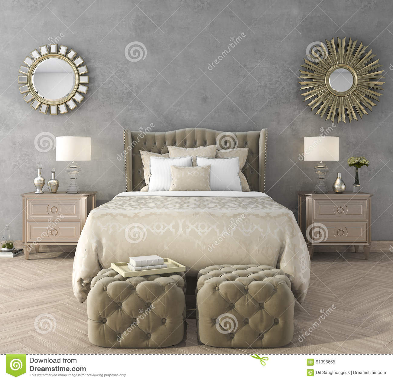 3d Rendering Classic Luxury Bedroom With Pouf And Mirror And ...