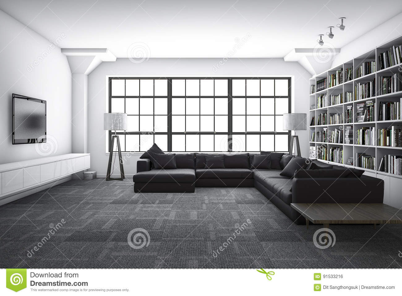 3d Rendering Classic Luxury Living Room With Bookshelf With Book ...