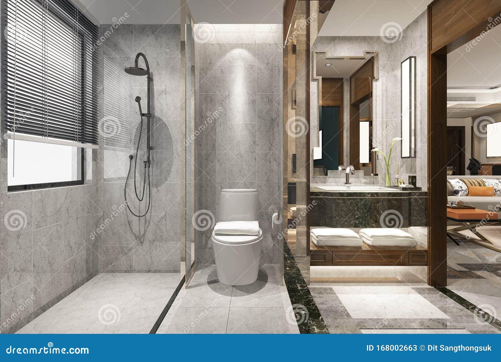 3d Rendering Classic Modern Bathroom With Luxury Tile Decor Near Living Room Stock Image Image Of Floor Bathroom 168002663