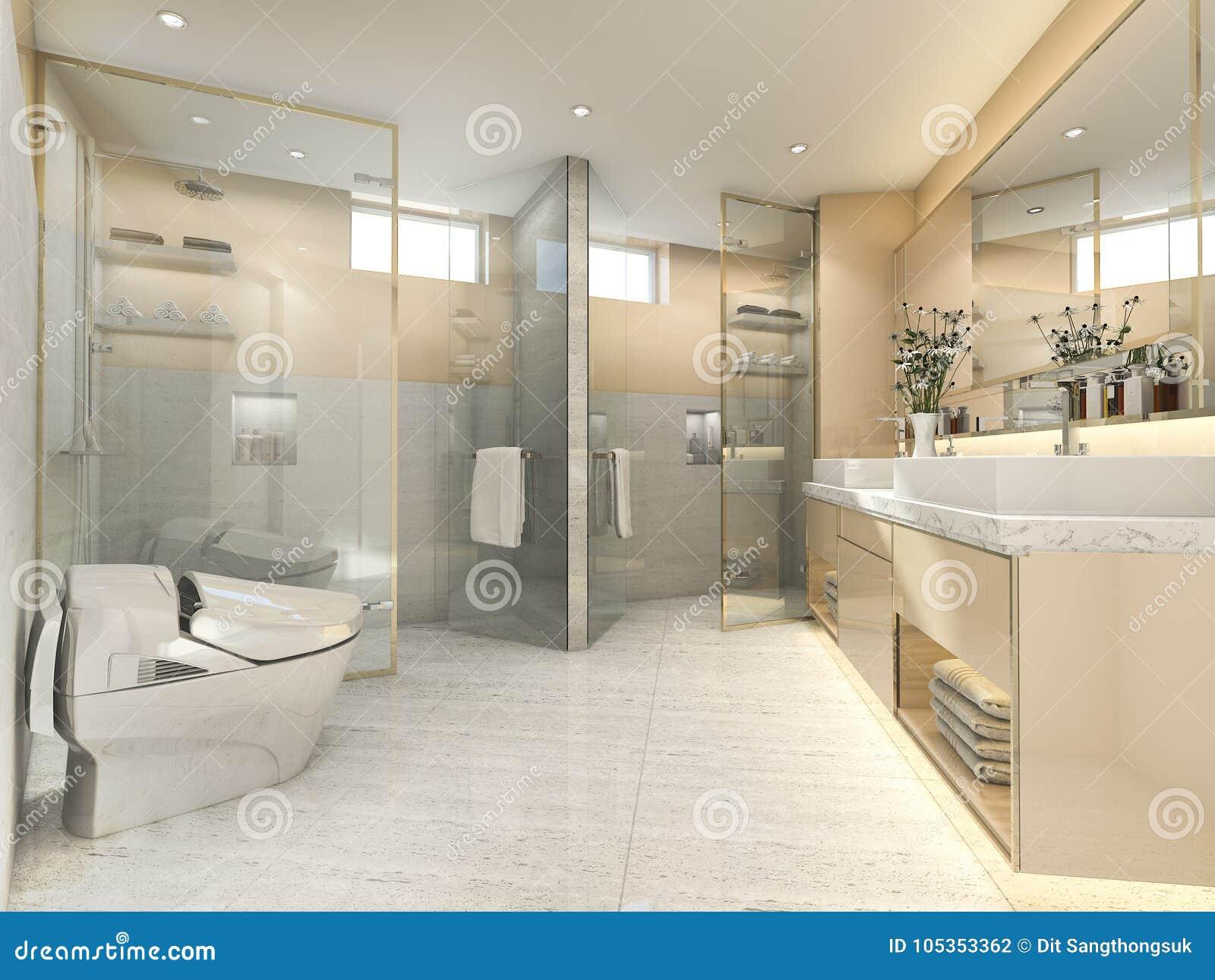 3d rendering cream modern vintage bathroom with luxury tile decor rh dreamstime com  modern cream bathroom ideas