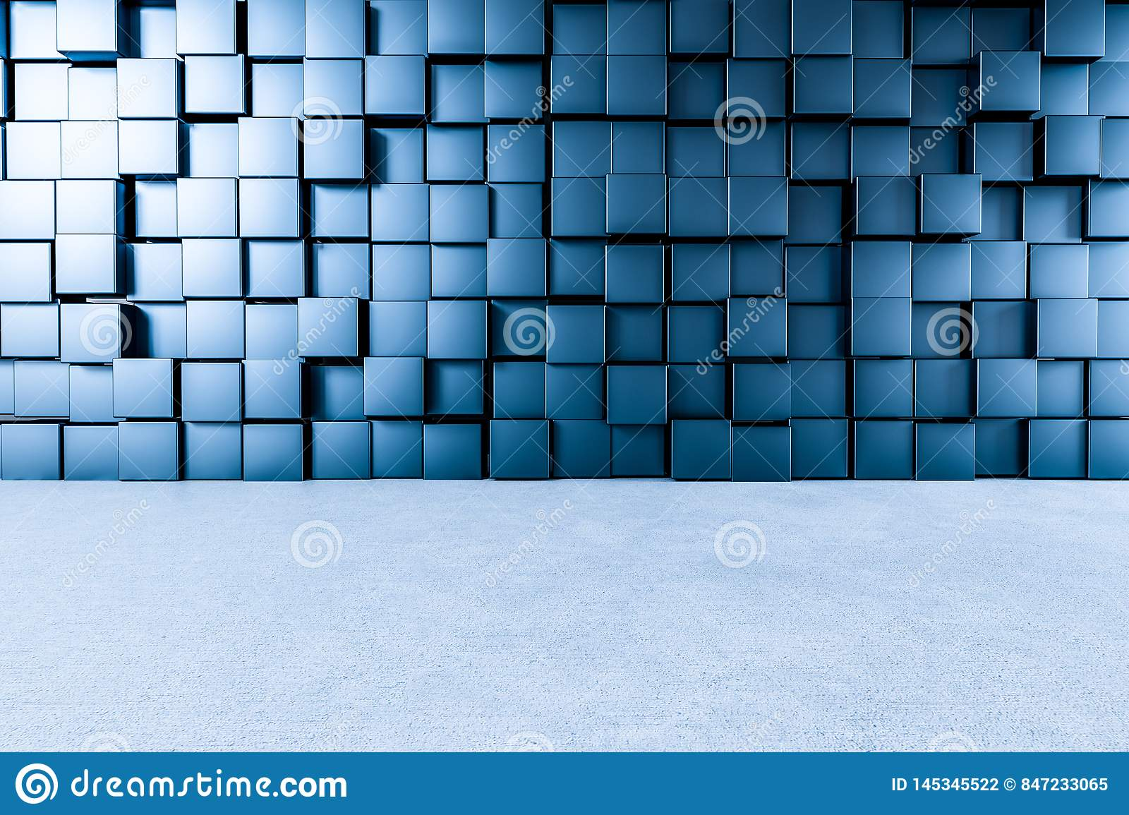3d rendering, creative cubes wall with floor