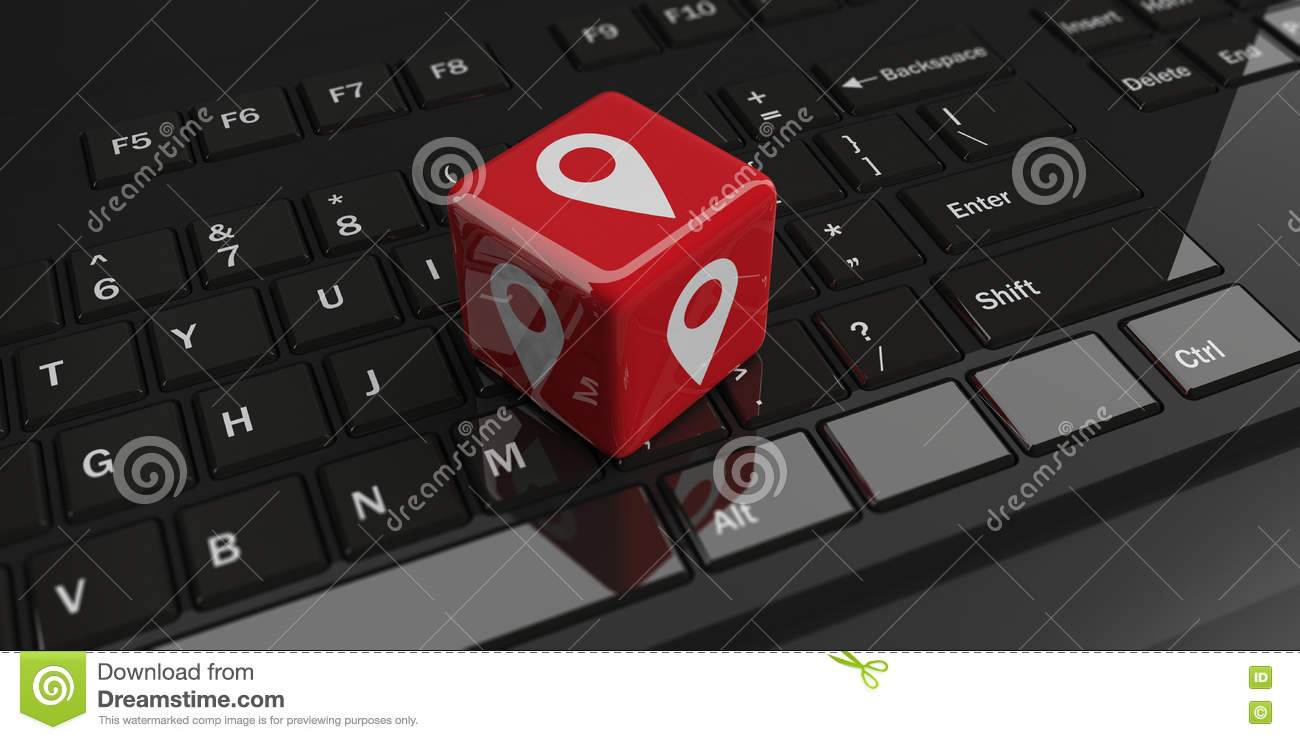 3d Rendering Cube With Location Symbol On A Keyboard Stock