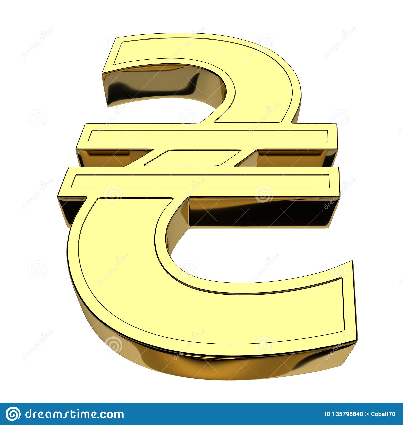 3D rendering currency symbol of Ukrainian hryvnia, golden, isolated on white background