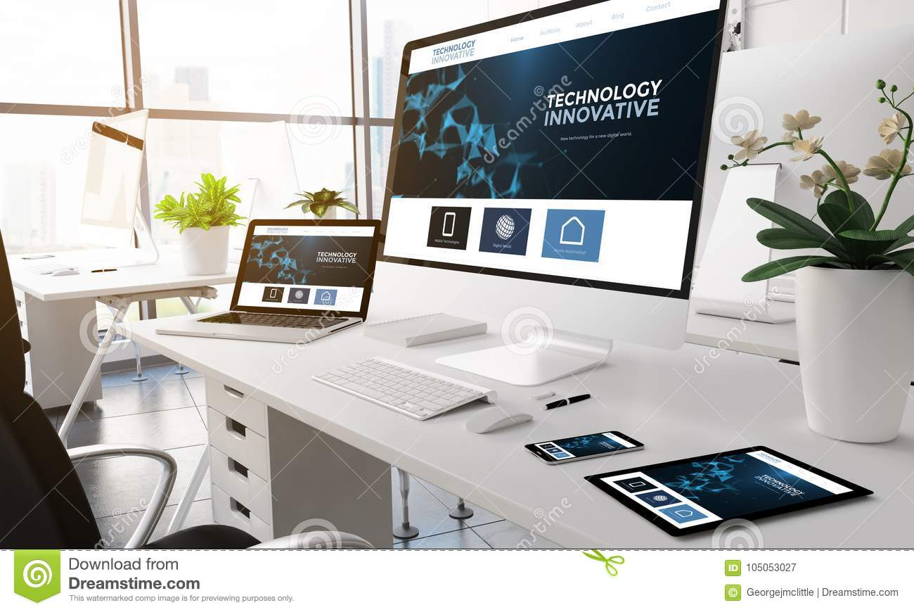 office technology modern innovative devices screen website preview