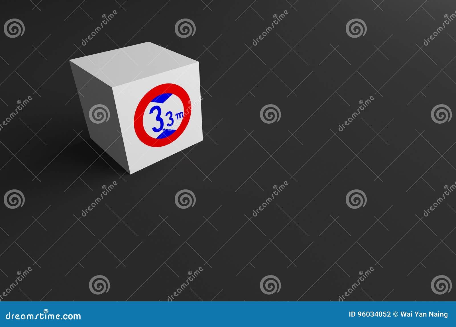 3D rendering DROGOWY znak NA BIAŁYM sześcianie