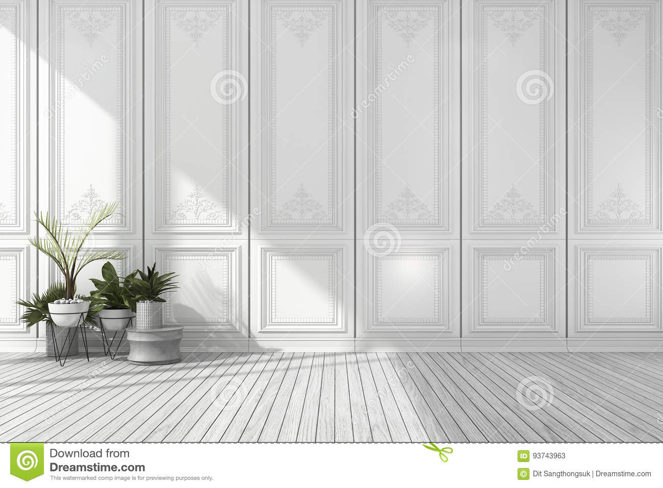 3d rendering empty white classic room with nice wall panel and plant rh dreamstime com