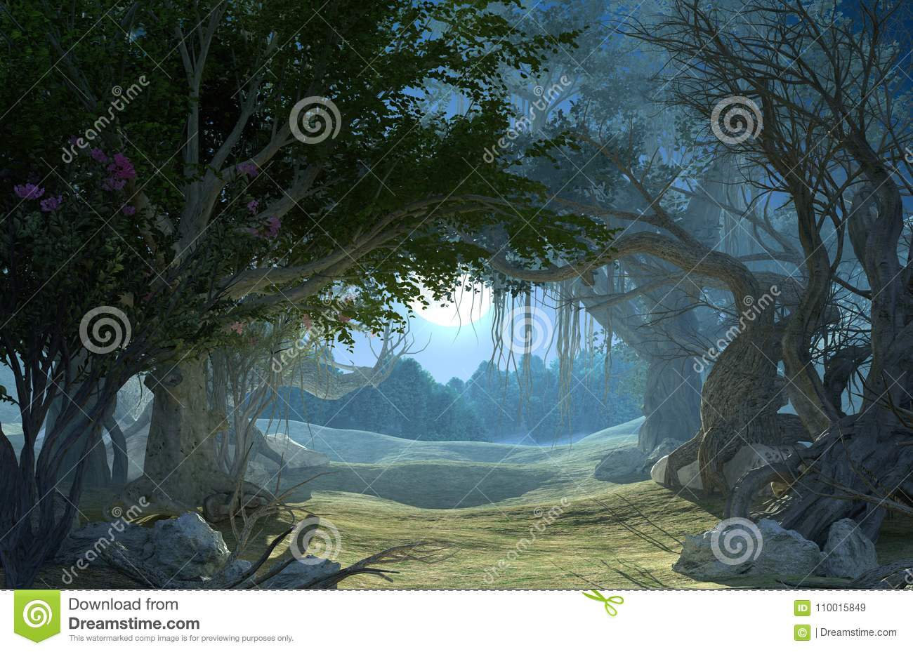 3d rendering of enchanted dark forest in the moonlight.