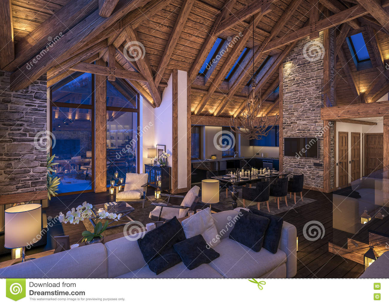 3d Rendering Of Evening Living Room Of Chalet Stock Image Image Of Candel Mansion 79289115