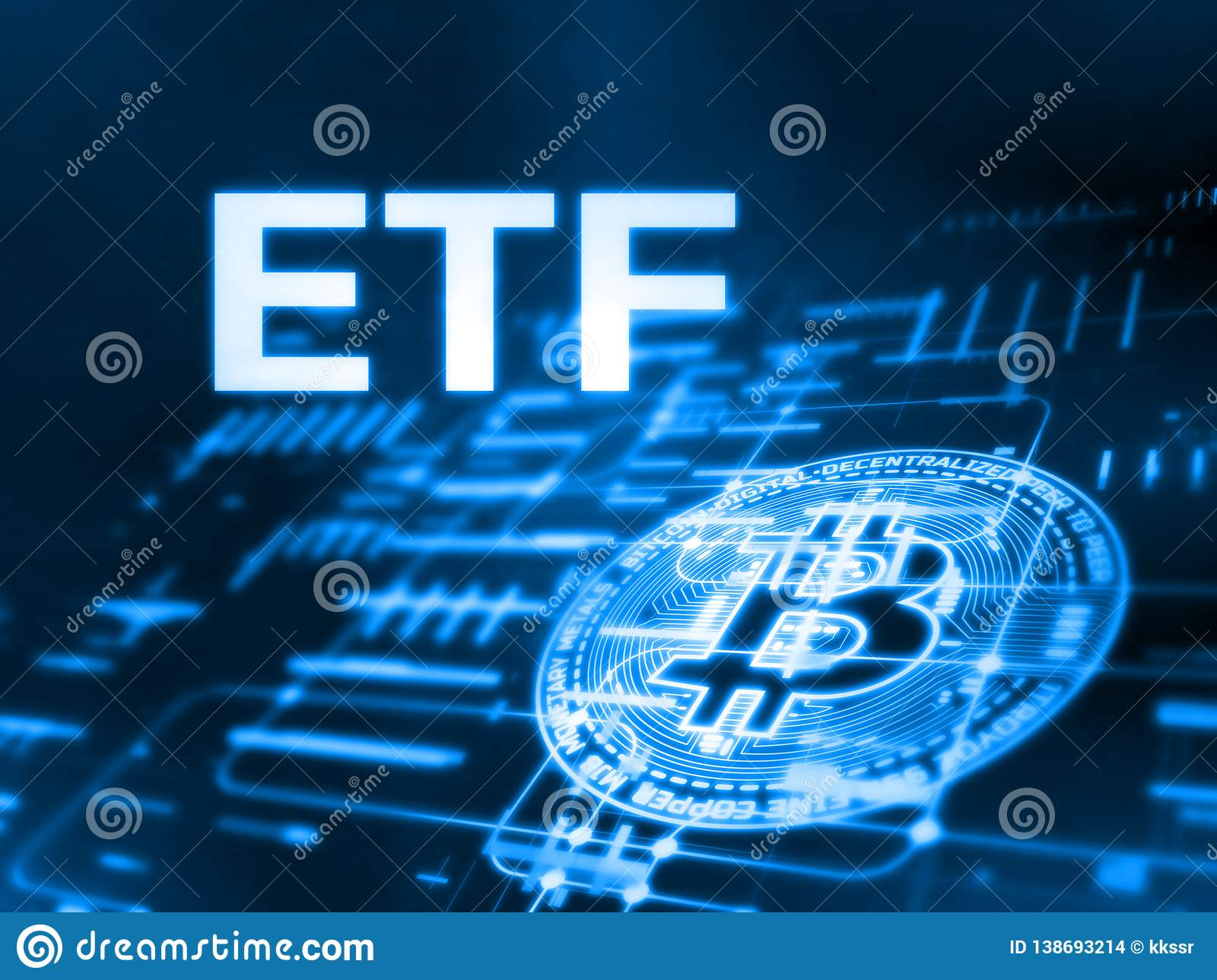 3D Rendering of Exchange Traded Fund ETF text and Bitcoin BTC on glowing abstract led data and circuit diagram.