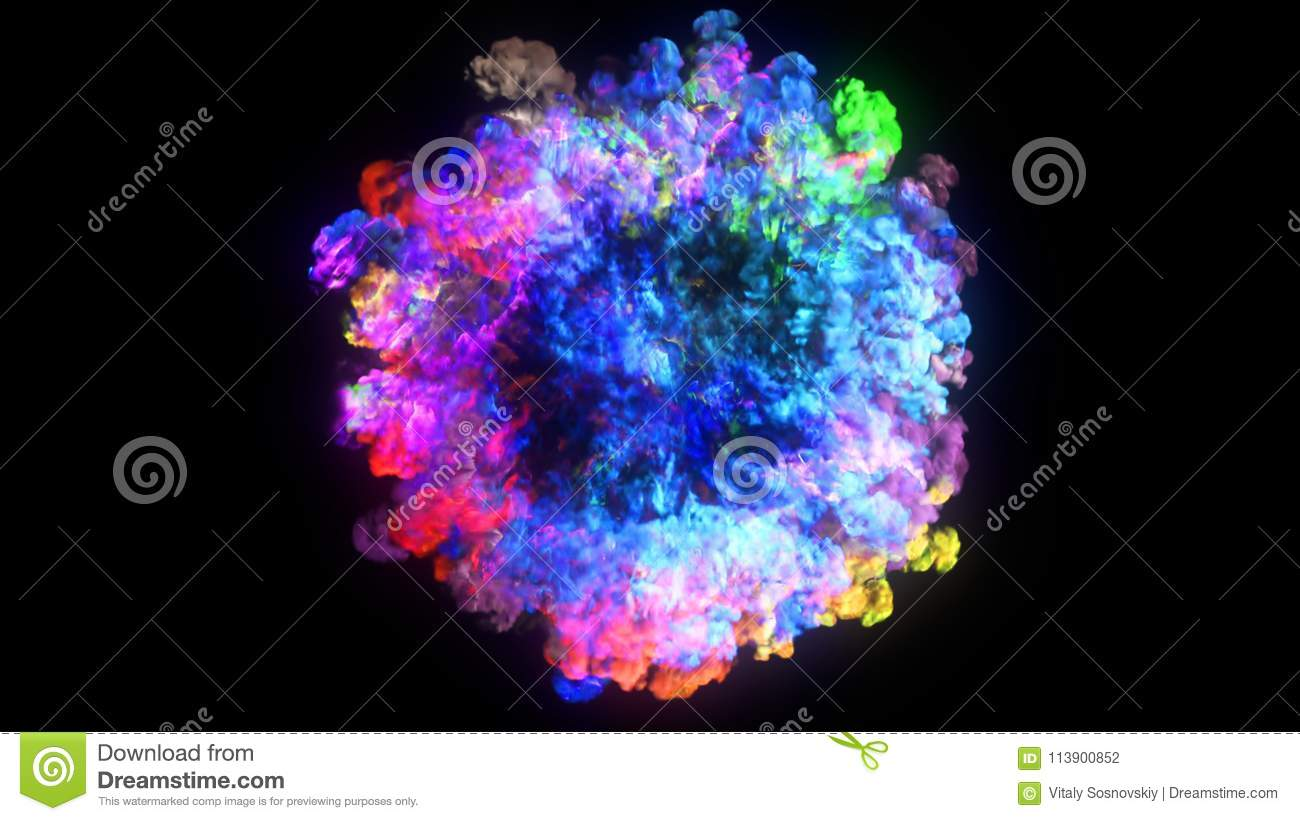 3D Rendering Of Explosion, Smoke, Effect Shock Wave And Diverging