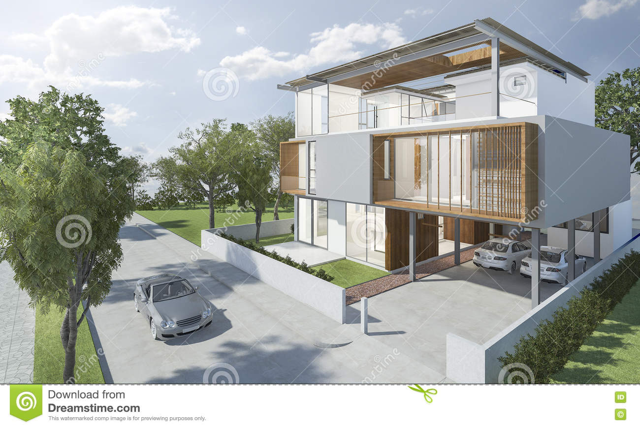 3d rendering exterior of modern house with good design for Rendering case moderne