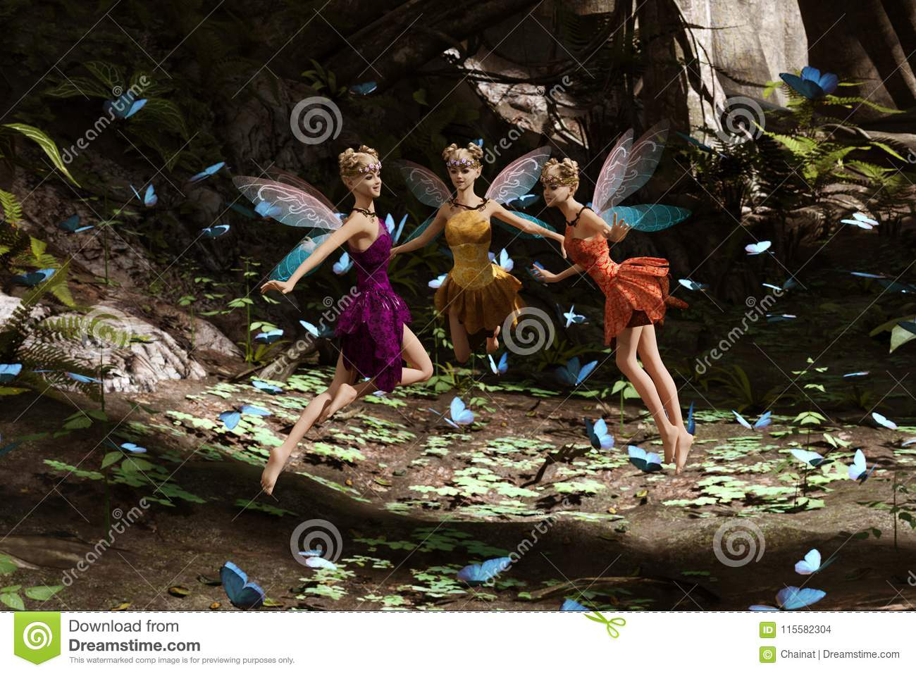 71caf9216e032 A Fairies Flying In Magical Forest Stock Illustration - Illustration ...