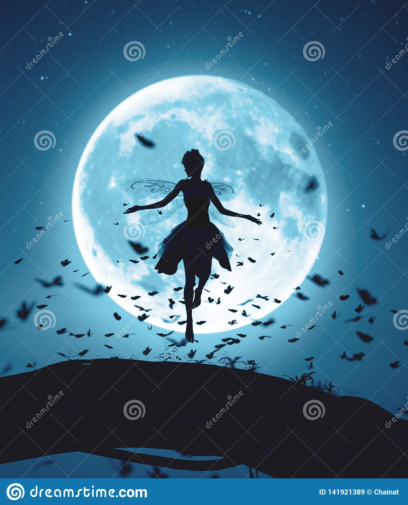 Fairy flying in a magical night surrounded by flock butterflies in moonlight