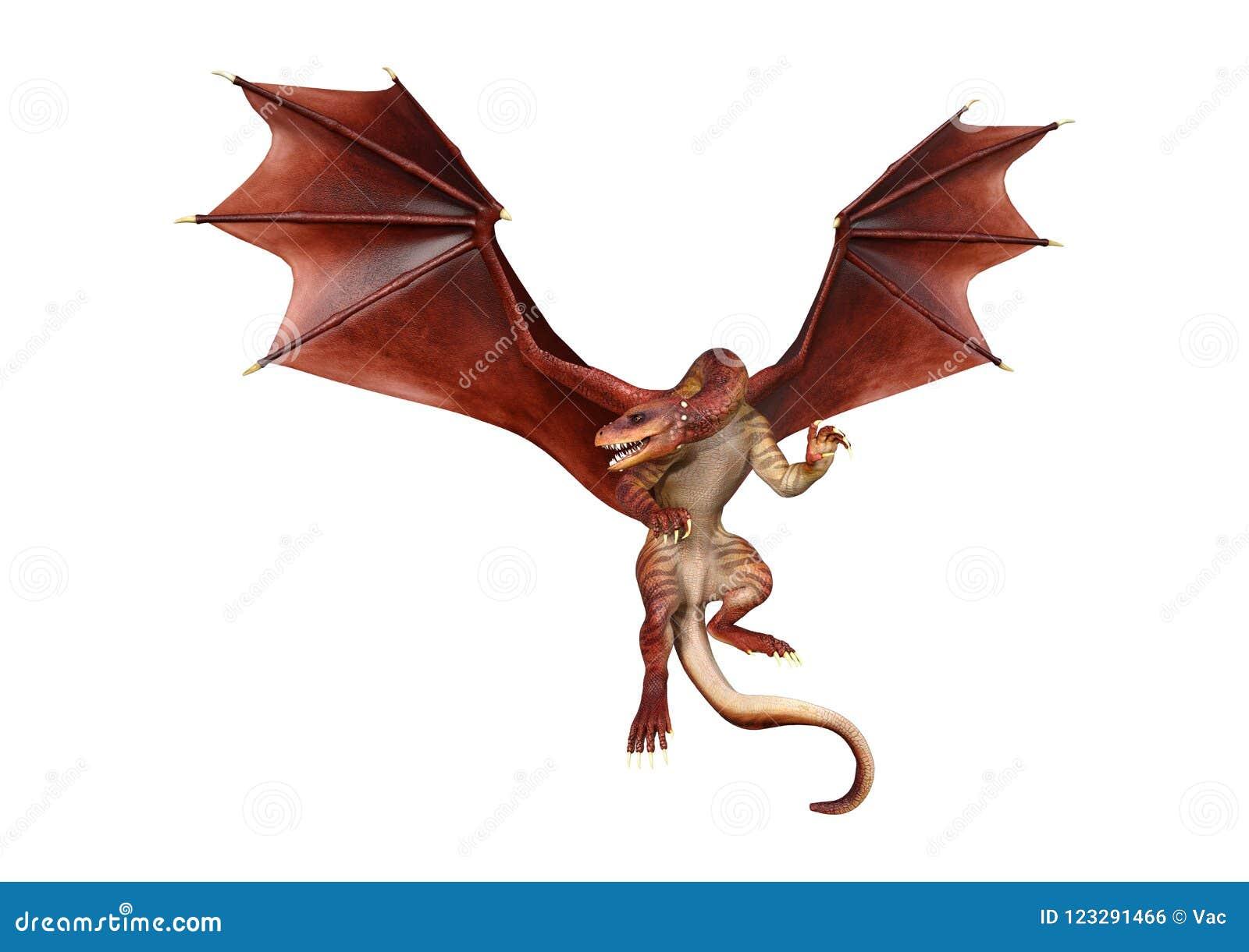 3D Rendering Fantasy Dragon On White Stock Illustration