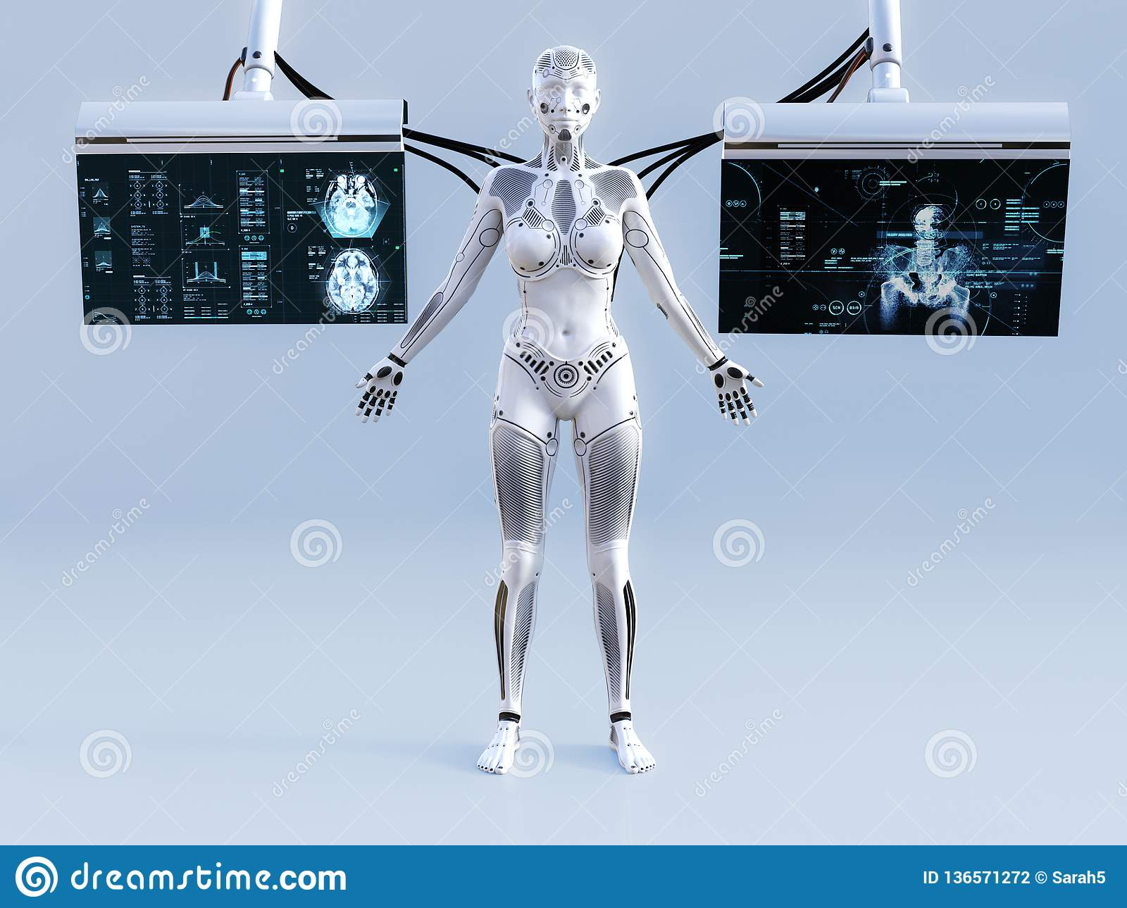 3D rendering of female robot connected to screens