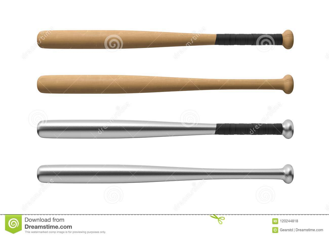 3d Rendering Of Four Baseball Bats Made Of Wood And Steel