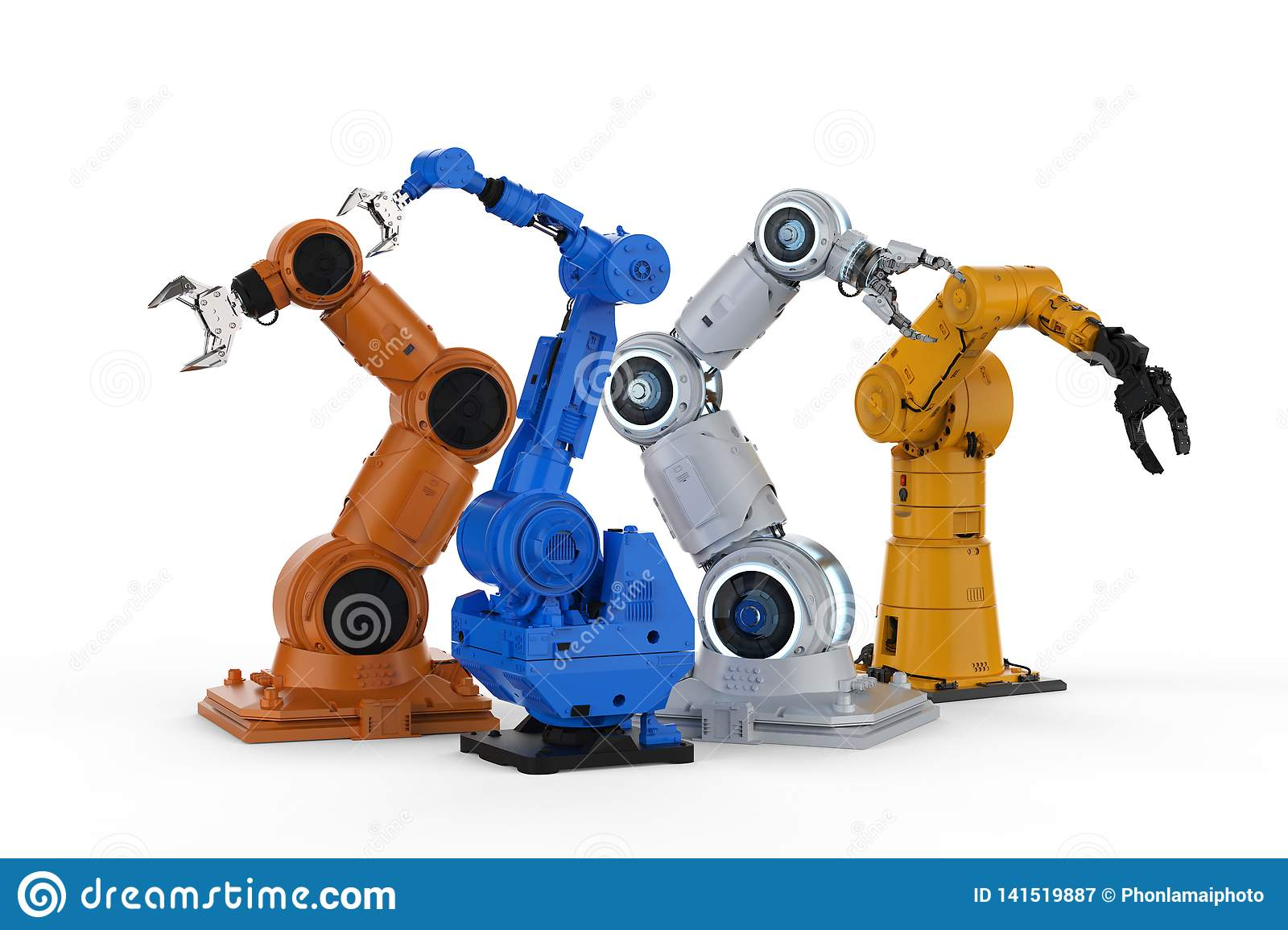 Robot arms four models stock illustration  Illustration of