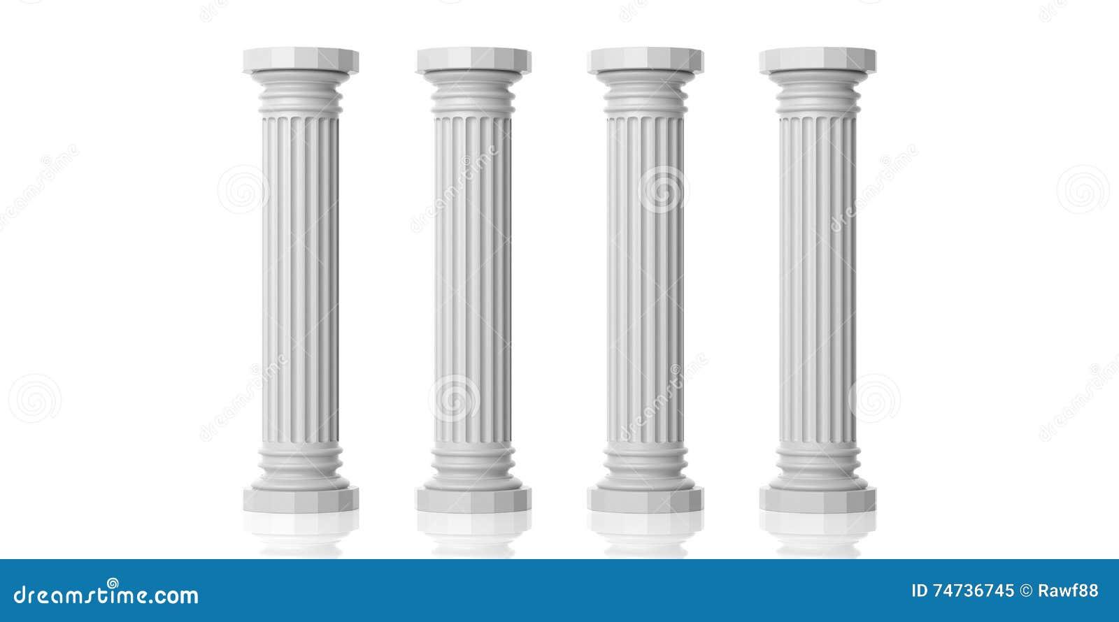 3d rendering four white marble pillars stock image image for Floor pillars