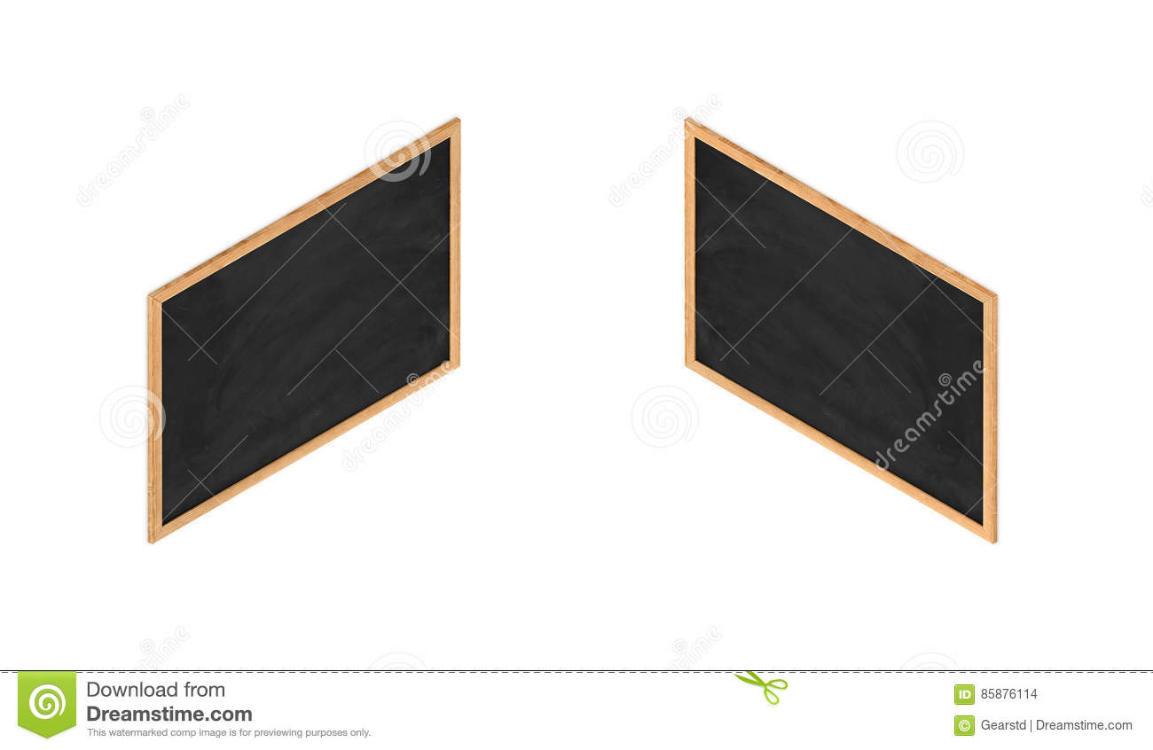 3d Rendering Of A Framed Black Chalkboard In Double-sided Isometric ...