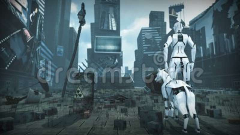 Animation Of An Artificial Woman And Dog In Ruined Sci Fi City 3d Rendering