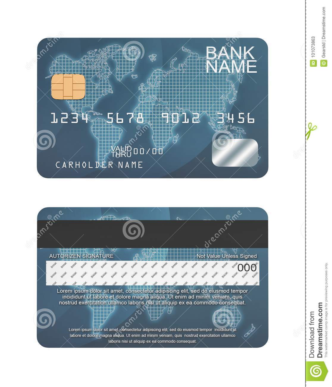7d Rendering Of A Generic Credit Card In Blue Color And Random