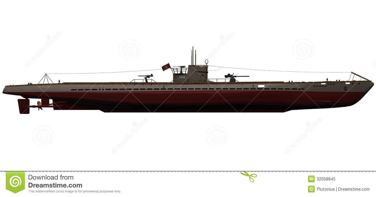 3d Rendering Of A German IX-B U-Boat Stock Illustration - Illustration: 32058845