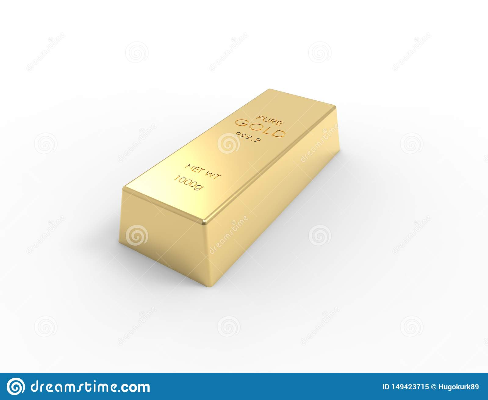 3D rendering of gold bars isolated on white studio background
