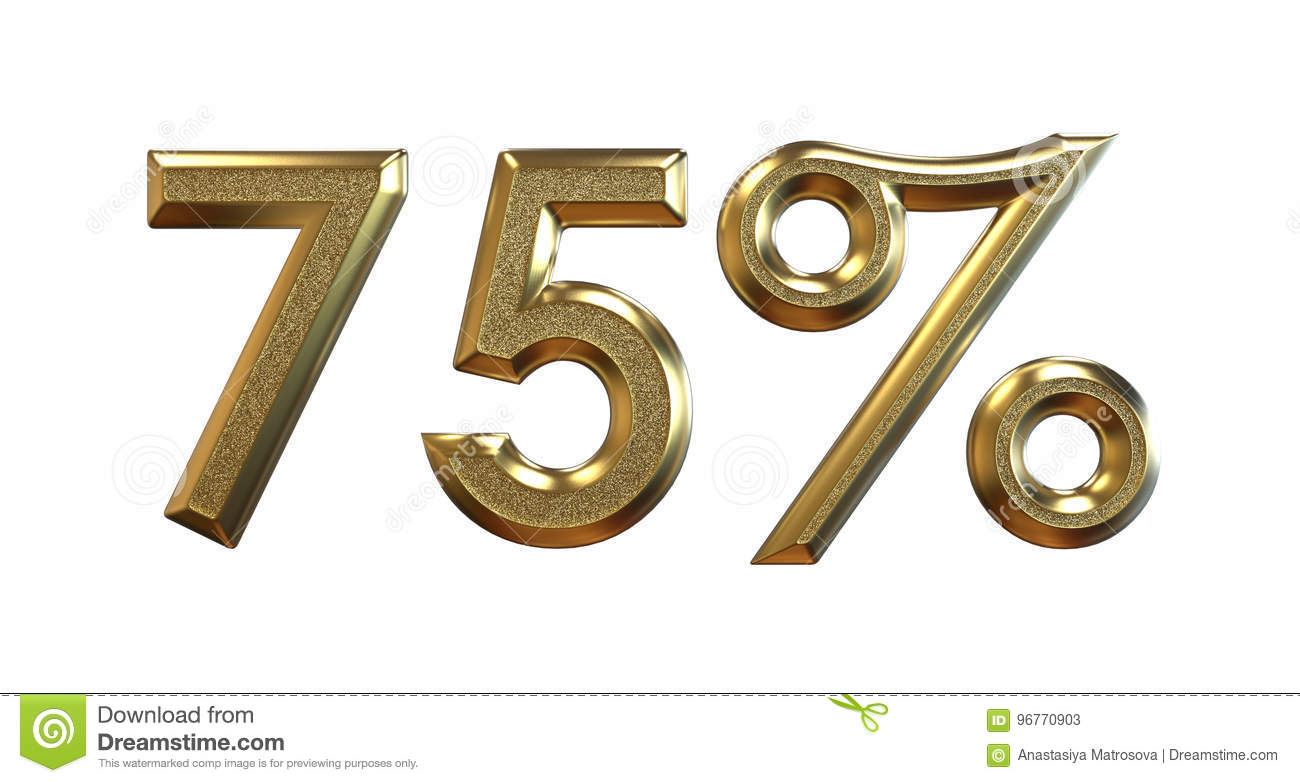 3d rendering. Gold percentages on a white background.